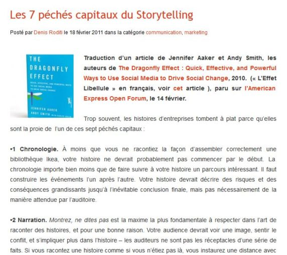 Les 7 péchés capitaux du Storytelling